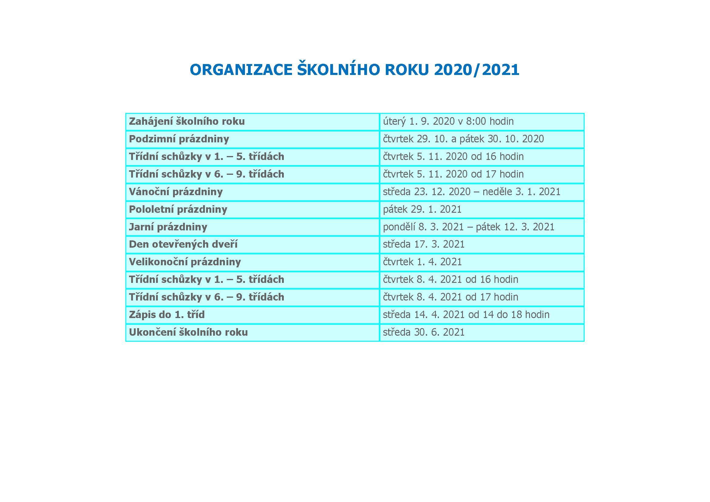 Organizace školního roku 2020-2021